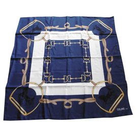 Céline-Silk scarves-Eggshell,Dark blue