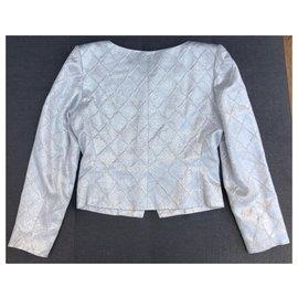 Yves Saint Laurent-Jacken-Silber,Weiß