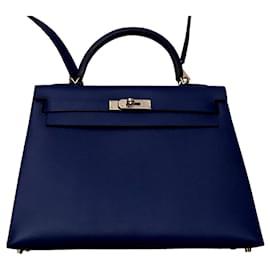 Hermès-Kelly hermès sellier 32 cm-Bleu