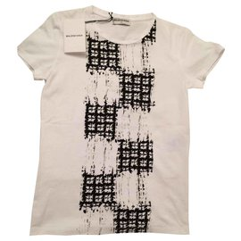 Balenciaga-Tee-shirt Balenciaga blanc et noir T. S-Noir,Blanc