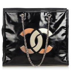 ebdd0f8715 Chanel-Sac cabas rouge à lèvres en cuir verni noir Chanel-Noir,Multicolore  ...
