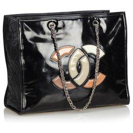 Chanel-Sac cabas rouge à lèvres en cuir verni noir Chanel-Noir,Multicolore