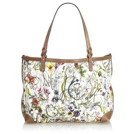 Gucci-Sac cabas Gucci White Flora Craft-Blanc,Multicolore