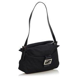 Fendi-Fendi Black Canvas Shoulder Bag-Black