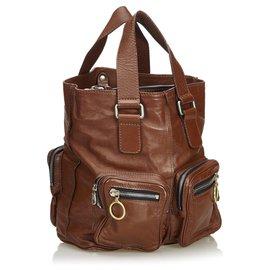 Chloé-Chloe Brown Leather Betty Tote Bag-Brown,Dark brown
