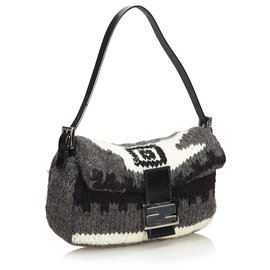 Fendi-Fendi Gray Wool Mamma Baguette-Black,Grey