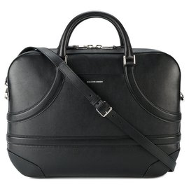 Alexander Mcqueen-Alexander Mcqueen Black Leather Harness Briefcase-Black