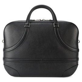 Alexander Mcqueen-Alexander Mcqueen Black Leather Harness Briefcase-Black