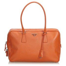 918457d75119 Prada-Prada Orange Saffiano Leather Bauletto Handbag-Orange ...