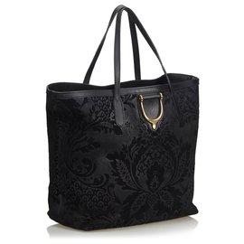 Gucci-Sac cabas à étrier en cuir noir et brocart Gucci-Noir