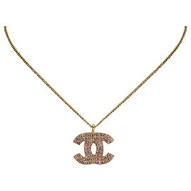 Chanel-Collier Chanel Or CC Strass-Rose,Doré