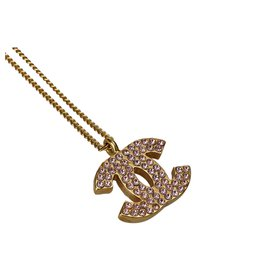 Chanel-Chanel Gold CC Rhinestone Necklace-Pink,Golden