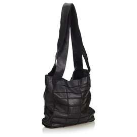 Chanel-Chanel Black Leather Patchwork Tote Bag-Black