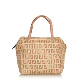 Fendi-Fendi Brown Zucchino Jacquard Sac à main-Marron,Rose,Beige