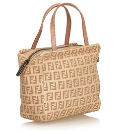 Fendi-Fendi Brown Zucchino Jacquard Handbag-Brown,Pink,Beige