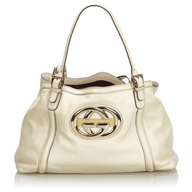 Gucci-Gucci White Leather Britt Tote Bag-White,Cream