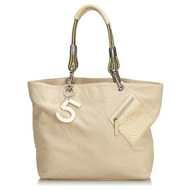 Chanel-Chanel Brown No.5 Canvas Tote Bag-Brown,Beige