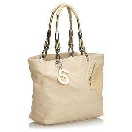 Chanel-Chanel Brown Non.5 Sac cabas en toile-Marron,Beige