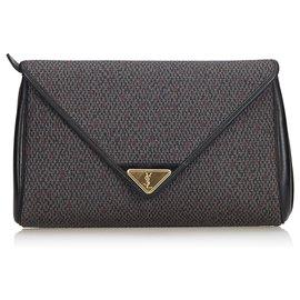Yves Saint Laurent-YSL Grey Woven Flap Clutch Bag-Andere,Grau