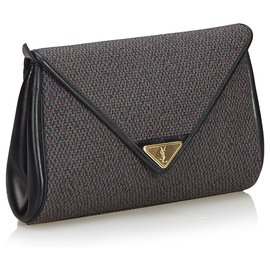 Yves Saint Laurent-YSL Gray Woven Flap Clutch Bag-Other,Grey