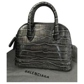 Balenciaga-BALENCIAGA VILLE XXS NEW BAG cocco stamp-Grey