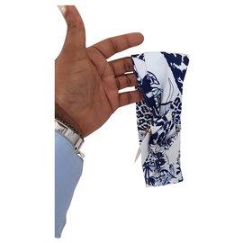 Hermès-Bandeau Soie Robert Dallet-Blanc,Bleu