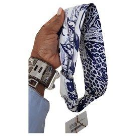 Hermès-Robert Dallet Seidenstirnband-Weiß,Blau