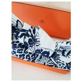 Hermès-Robert Dallet Silk Headband-White,Blue