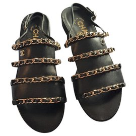 Chanel-Chanel Black Sandals EU37-Black