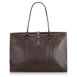 Gucci-Sac d'affaires en cuir marron de Gucci-Marron