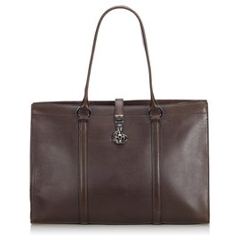 Gucci-Gucci Brown Leather Business Bag-Brown