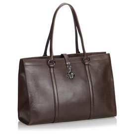Gucci-Gucci Brown Leder-Business-Tasche-Braun