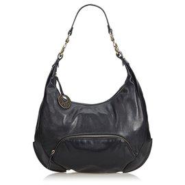 Fendi-Fendi Black Leather Chef Hobo Bag-Black
