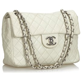 Chanel-Chanel White Classic Jumbo Caviar Single Flap Bag-White