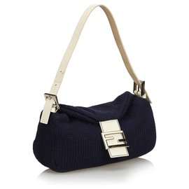 Fendi-Fendi Blue Wool Baguette-White,Blue,Navy blue