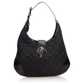 Burberry-Burberry Black Quilted Nylon Brooke Hobo Bag-Black