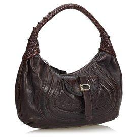 Fendi-Fendi Brown Leather Spy Shoulder Bag-Brown,Dark brown