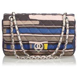 Chanel-Sac à rabat moyen en coton imprimé coeur rose CC de Chanel-Rose,Multicolore