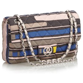 Chanel-Chanel Pink CC Heart Printed Cotton Medium Flap Bag-Pink,Multiple colors
