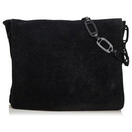 Gucci-Gucci Black Suede Chain Shoulder Bag-Black