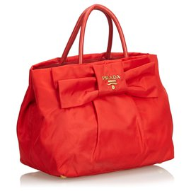 Prada-Prada Red Nylon Bow Handbag-Red