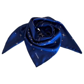 Chanel-SILK SCARF CHANEL-Navy blue