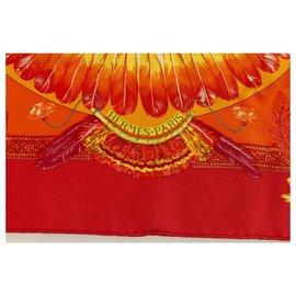 """Hermès-Foulard Hermes Gavroche en Soie Orange """"Brésil"""" par Laurence Bourthoumieux 43*43cm-Multicolore"""