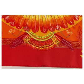 "Hermès-Hermes Gavroche Orange Silk Scarf ""Brazil""  by Laurence Bourthoumieux 43*43cm-Multiple colors"