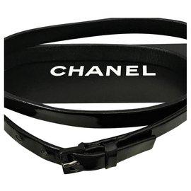 Chanel-Ceinture Chanel, Cuir verni Noir-Noir