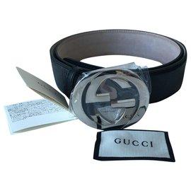 Gucci-Cinto do Homem de Guccissima-Preto