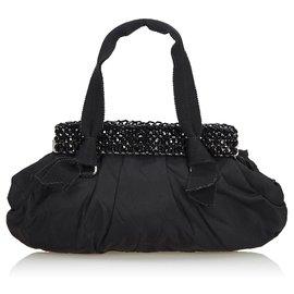 Prada-Sac à main Prada en nylon noir perlé-Noir