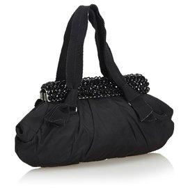 Prada-Prada Black Beaded Nylon Handbag-Black