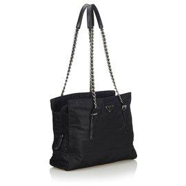 Prada-Prada Black Nylon Chain Shoulder Bag-Black