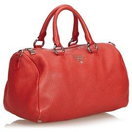 Prada-Prada Red Vitello Daino Leather Satchel-Red